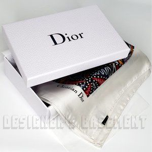 DIOR orange RITUAL-D large Butterfly silk scarf